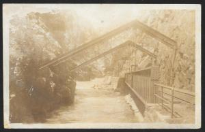 Royal Gorge Pavilion Railroad Bridge Over The River Colorado RPPC Unused c1910s