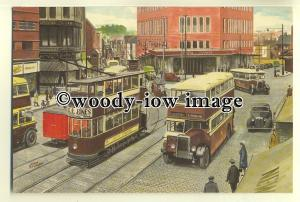 tm5579 - Tram & Buses in Coventry City Centre in the late 30's - art postcard