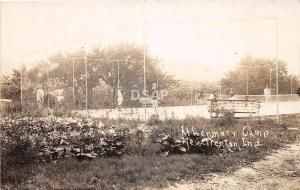 B85/ New Trenton Indiana In Real Photo RPPC Postcard Lenmary Camp Tennis Court