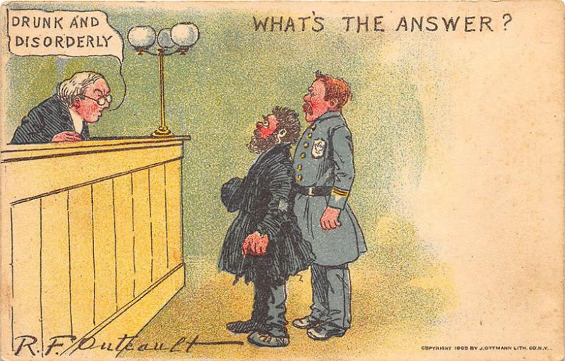 R. F. Outcault Drunk And Disorderly  What's The Answer? Postcard
