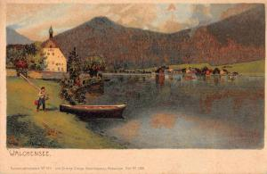 Walchensee Germany Boy with Boat Scenic View Antique Postcard J66422