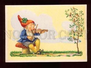 017885 GNOME playing on Violin VIOLINIST vintage color PC