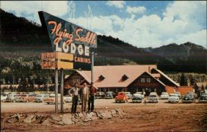 Alpine WY Flying Saddle Lodge Hwy 89 Naon Sign Old Cars Postcard