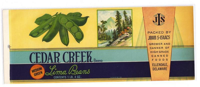 Cedar Creek Lima Bean Can Label John Isaacs Ellendale DE