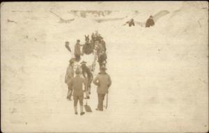 Men w/ Shovels Snow Scene Fort Liscum Alaska AK Cancel Real Photo Postcard