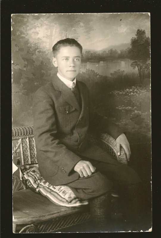 Vintage Made in Canada Seated Young Man Portrait Real Photo Postcard Unposted