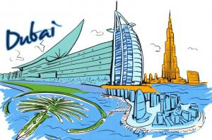 Art Postcard, Dubai, UAE, Landmarks, City, View, Travel 22i