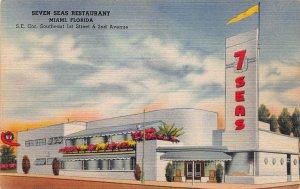 Seven Seas Restaurant, Miami, Florida, Early Linen Postcard, Unused