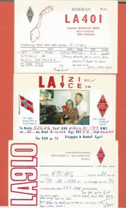 QSL AMATEUR RADIO CARDS – NORWAY – 3 DIFFERENT CARDS – 1979-1989 (4)