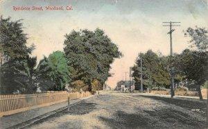 WOODLAND Residence Street Scene California 1914 Vintage Hand-Colored Postcard