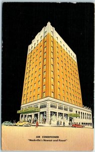 Nashville, Tennessee Postcard NOEL HOTEL Artist's Street View - MWM Linen c1950s