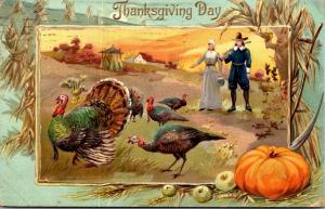 Thanksgiving With Turkeys and Pilgrims 1910 Tucks