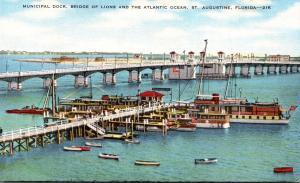 Florida St Augustine Municipal Dock Bridge Of Lions and Atlantic Ocean