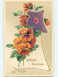 Bent Corner Div-Back birthday ORANGE PANSY FLOWERS & HEART ON A CHAIN o9008