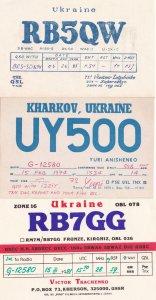 Kherson Kharkov Ukraine 3x QSL Radio Card s