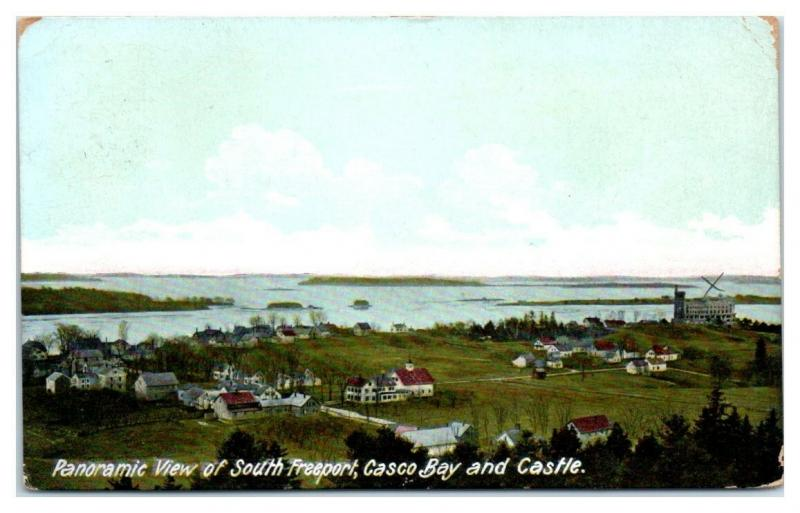 1911 Panoramic View of South Freeport, Casco Bay and Castle, Maine Postcard