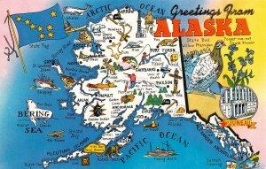LPM45 Alaska Map Chrome Postcard Views