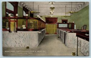 Postcard TN Nashville First Savings Bank & Trust Interior Lobby Teller Cage S17