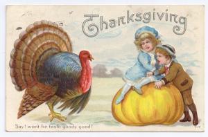 Children Pumpkin Turkey Wont He Taste Goody Good Vintage Thanksgiving Postcard