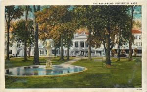 Pittsfield Massachusetts~Fountain in Pond @ The Maplewood~1916 Postcard