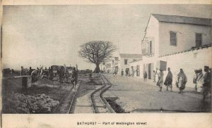 Gambia Banjul Bathurst Part of Wellington street ,rail postcard