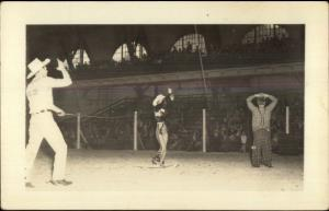 Circus or Rodeo Lasso Act Clown Cowboy & Cowgirl Real Photo Postcard