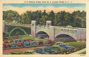 Linen Card of U.S. 8 Highway Bridge Ausable Chasm NY
