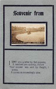 F35/ West Bend Iowa RPPC Postcard 1913 St Peter and Paul's Lake Boat