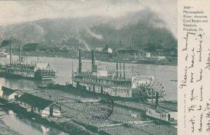 PITTSBURGH, Pennsylvania, PU-1905; Monongahela River, Coal Barges & Steamers