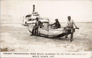 Wolfe Island Ontario ON 'Wolfe Islander' Ship Men Freight RPPC Postcard G17