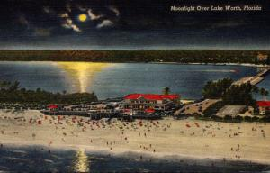 Florida West Palm Beach Moonlight Over Lake Worth Curteich