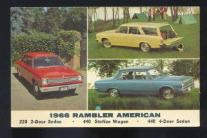 1966 RAMBLER AMERICAN VINTAGE CAR DEALER ADVERTISING POSTCARD '66 AMC