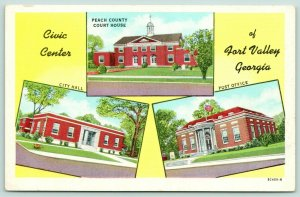 Fort Valley Georgia~Peach County Courthouse~City Hall~Post Office~1940s