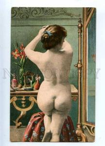 233759 Morning NUDE Belle Woman near MIRROR Vintage Color PC