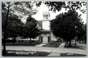 Primghar Iowa~Trinity Methodist Church~Bell Visible in Tower~1940s RPPC