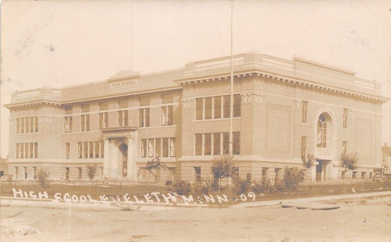 Eveleth Minnesota~High School~Wrought Iron Spike Fence~1909 Real Photo~RPPC