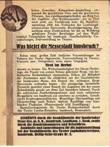 Austria - Inssbruck - Tirol Hunting Expo 1926 Handbill