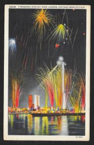 Fireworks over Lagoon Chicago Worlds Fair used c1934
