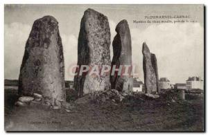 Postcard Old Megalith Dolmen Plouharnel Carnac Menhirs old mill near the station