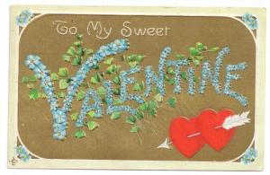 Large Letter Valentine Forget Me Nots Gold Vintage Postcard