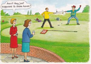 Post Card Comic / Golf The Funny Side of Life Good Sports Shake Hands?
