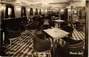 CPA S.S. France - The Smoking Room - 2nd Class - French Line - Ships (774955)