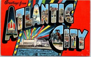 Vintage ATLANTIC CITY NJ Large Letter Postcard Colorful KROPP Linen 1940s Unused