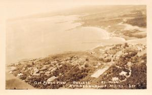 Kennebunkport Maine~Airplane View of Homes on Hillside Above Beaches RPPC c1941
