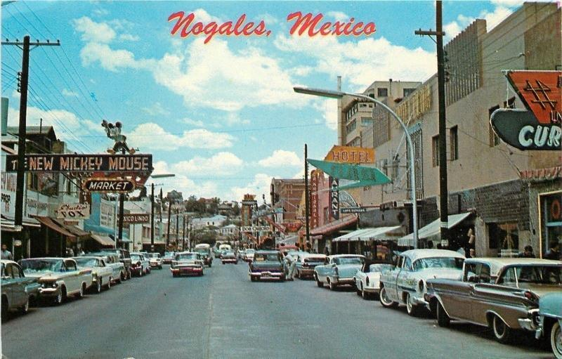 Nogales Sonora Mexico~New Mickey Mouse Market~Studio Fox~NICE 1950s Cars~PC