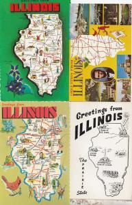Illinois President Lincoln US Grant Politician 4x Map Postcard s