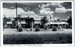 HOT SPRINGS, New Mexico NM   Roadside PAGE'S MODERN COTTAGES  Postcard