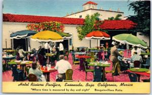 Ensenada BC Mexico Postcard HOTEL RIVIERA PACIFICO Patio Restaurant Linen c1950s