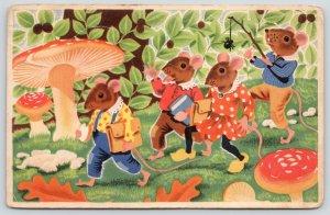 Artist~Dressed Mice On the Way to School~Spider on Stick Prank~Mushrooms c1915
