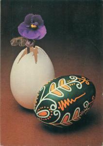 Penciled pattern folk easter egg & flower postcard